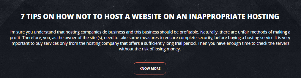7 tips on how not to host a website on an inappropriate hosting